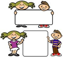 advertise announcement blank boy and Girl drawing