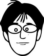 nerd, male face in glasses, black and white drawing