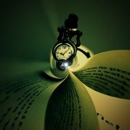 pocket watch and book binding