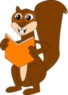 Squirrel is reading clipart