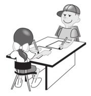 drawing students at the desk