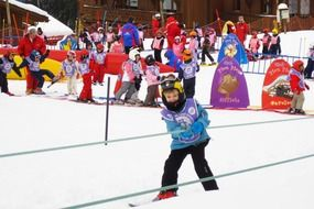 Children trying Winter sports