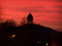 pink sunset over university of a freed-hardeman