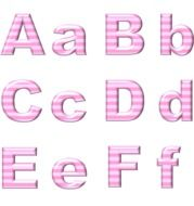 pink striped letters on a white background