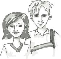 students, happy young boy and girl, illustration