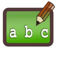 alphabet letters on a green background and a pencil