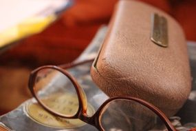 vintage glasses and case