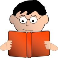 boy reading red book drawing