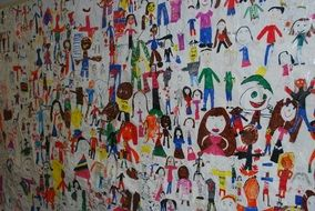 wall of children\'s drawings
