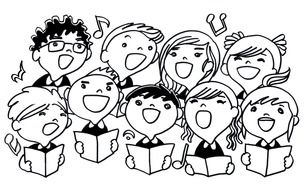 drawing of singing children