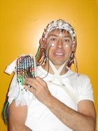 man with electrodes on head, eeg study