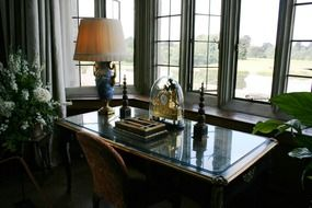 antique office desk at window