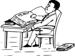 drawing of a man reading a book