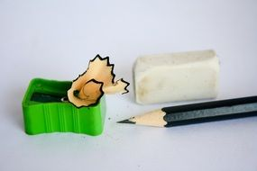 sharpener, pencil and eraser