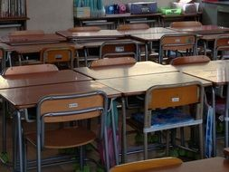 school desks and chairs in a school classroom in japan