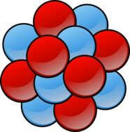 drawn red and blue molecules