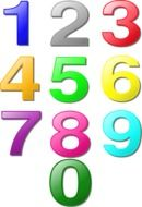 Colorful 0 to 9 numbers