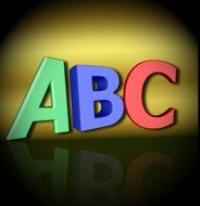 three multicolored letters of the alphabet