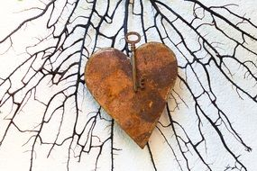 heart metal rusted key love