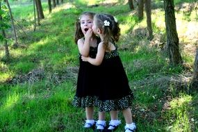 twin sisters on nature background
