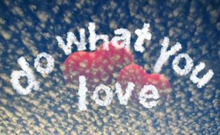 "clipart,picture which shows two hearts and the phrase "" do what you love"""