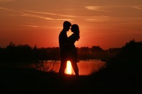 couple in love sunset