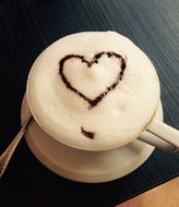 heart on cappuccino