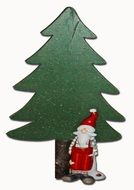 Christmas Card green Tree santa