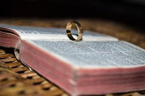 wedding ring on the bible