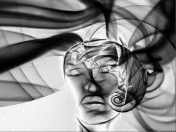 abstract drawing of mannequin face with closed eyes