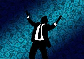 clipart,a successful businessman on background of dollars