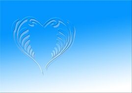 painted curly heart on a blue background