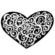 black heart ornament with white abstract lines