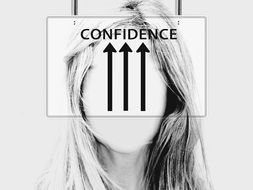 upward arrows showing confidence upon girl's face