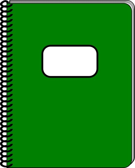 green notebook as a graphic image