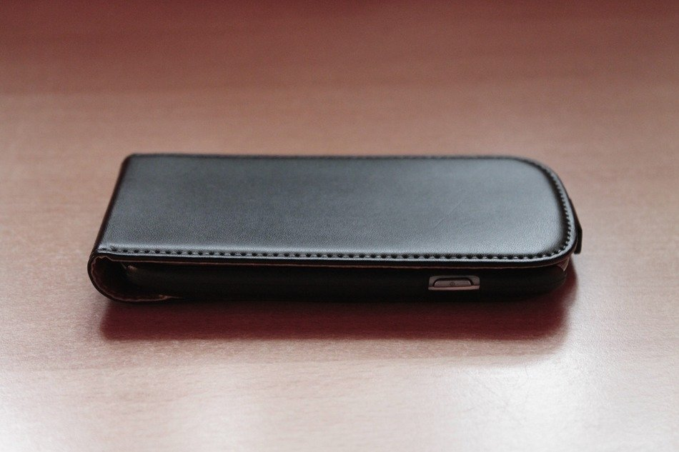 mobile phone in a black case