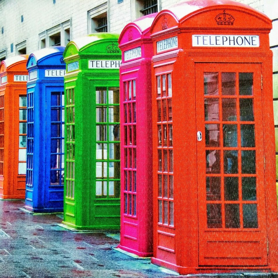 colorful phone booths