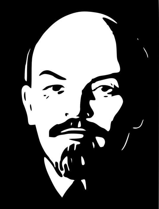 black and white portrait of Lenin