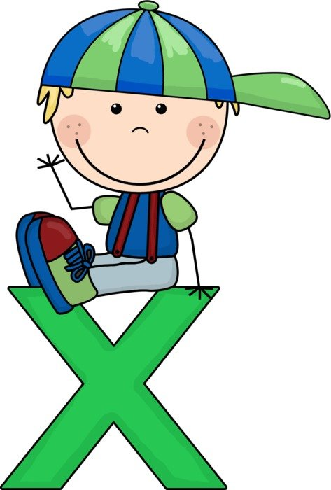 drawn boy sitting on the letter x