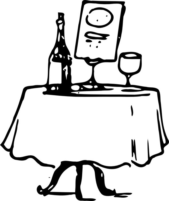 wine served On Table, vintage Black And White drawing
