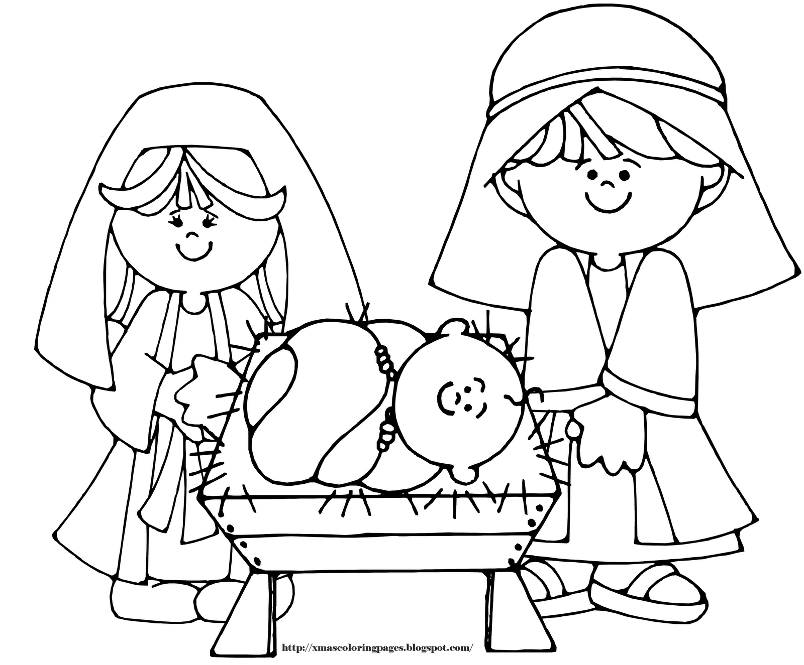 - Nativity, Parents With Baby Jesus, Coloring Page Free Image