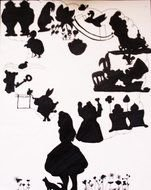 Silhouettes of the characters from Alice in Wonderland clipart