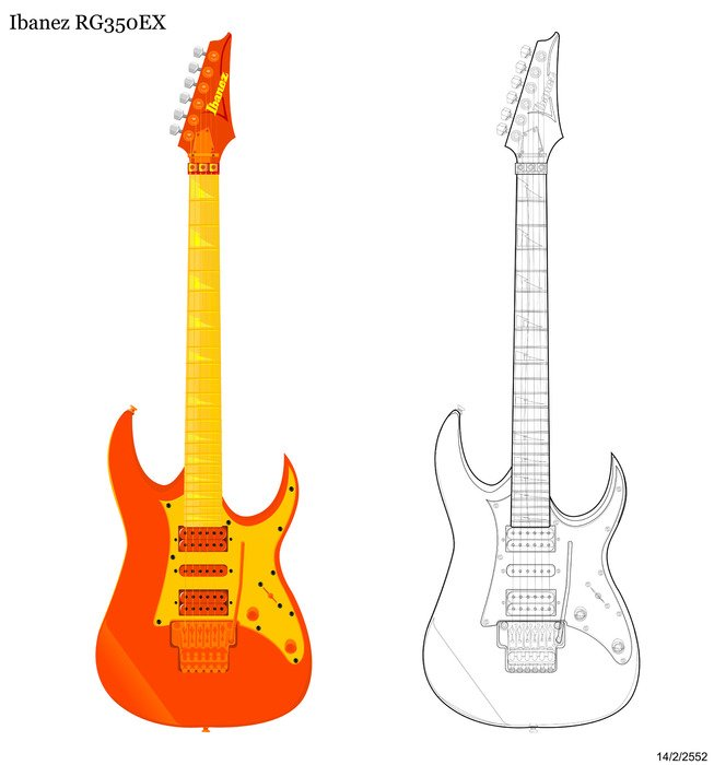 Clipart of Yamaha Pacifica Electric Guitars