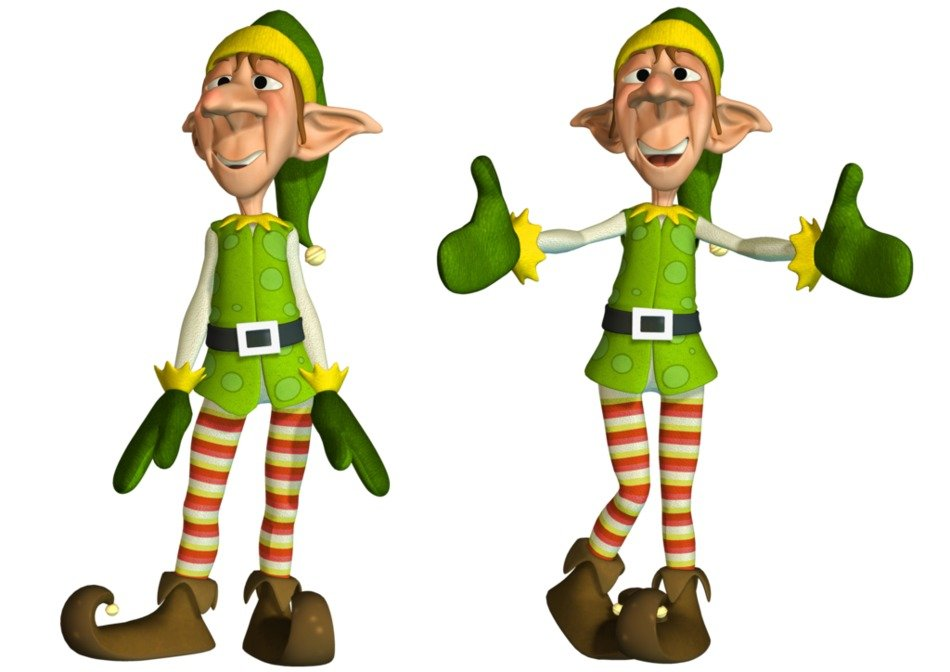 Colorful Christmas Elfs clipart