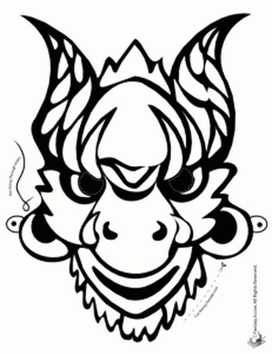 Chinese Dragon Mask Coloring Page Free Image