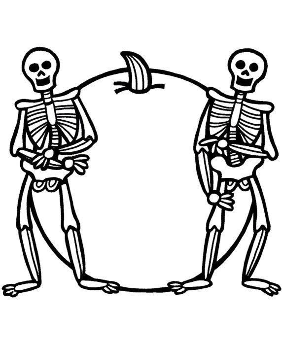 drawn two skeletons on a background of pumpkin