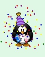 Colorful Birthday Penguin clipart