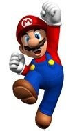 Mario Bros, game character with fist up