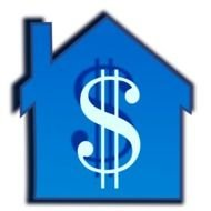 dollar sign on a blue house as a pictogram
