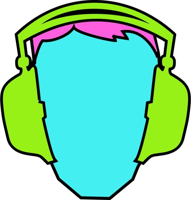 painted blue head with green headphones